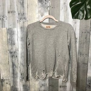 Pepin Anthropologie Gray Shredded Sweatshirt
